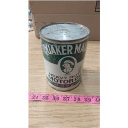 QUAKER MAID FULL, PAPER LABEL HEAVY DUTY MOTOR OIL CAN (1 US QUART OR 0.945 LITRES)