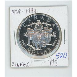 1969-1994 DOG SLED CANADIAN SILVER DOLLAR