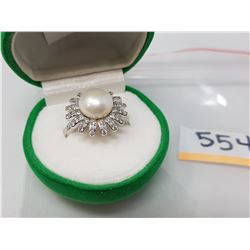 SILVER PEARL CZ FLOWER DESIGN RING (MSRP $200)