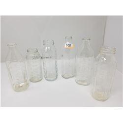 6 VINTAGE GLASS BABY BOTTLES