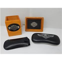 HARLEY DAVIDSON GLASSES & 2 HARLEY DAVISON BOXES