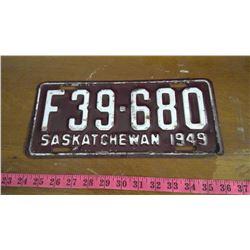 1949 SASKATCHEWAN LICENSE PLATE