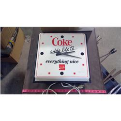 WORKING COCA-COLA CLOCK - DAMAGE ON PLASTIC