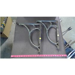 """TWO CAST IRON WALL BRACKETS - 16"""" X 13"""" (DAMAGE ON 1 END)"""