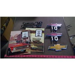 TWO 1967 BROCHURES AND CHEVY CUSTOM 10 DECALS - MINT CONDITION