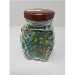 PLANTERS JAR FULL OF MARBLES