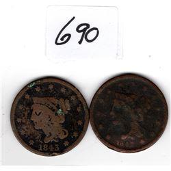 1842 1843 LARGE US CENTS