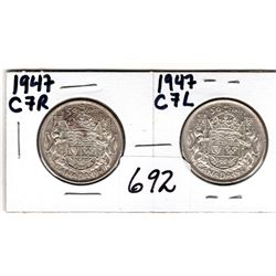 1947 C7R AND 1947 C7L 50 CENTS