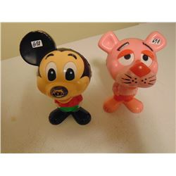 MICKEY MOUSE (DAMAGED EAR) AND PINK PANTHER PULL STRING VOICE WORKS