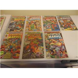 SEVEN CAPTAIN MARVEL COMICS 25 AND 30 CENT COVERS IN PLASTIC SLEEVES
