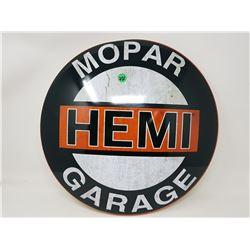 "MOPAR HEMI TIN DOMED SIGN (REPRODUCTION) *16""*"