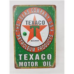 "TEXACO TIN SIGN (REPRODUCTION) *12"" X 8""*"