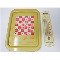 VINTAGE COCA-COLA TRAY AND THERMOMETER
