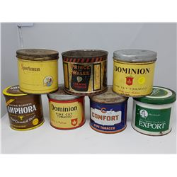 LOT OF 7 TOBACCO CANS