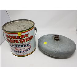 ROGERS SYRUP TIN AND METAL OVAL CONTAINER