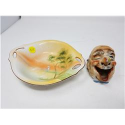 FIGURAL ASHTRAY AND NIPPON CANDY DISH