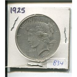 1925 USA SILVER ONE DOLLAR PEACE COIN