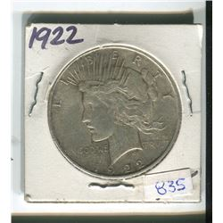 1922 USA SILVER ONE DOLLAR PEACE COIN