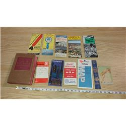 LOT OF ASSORTED MAPS AND WEBSTERS DICTIONARY (1966 DICTIONARY)