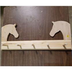 "5 PEG BOARD WITH HORSES HEAD (30"" X 12"" X 5"")"