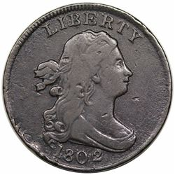 1802/0 Draped Bust Half Cent, Reverse of 1802, C-2, R3, struck over spoiled large cent, VF detail.