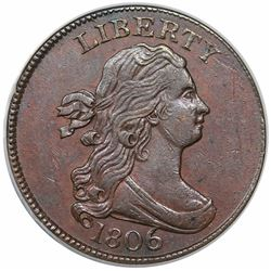 1806 Draped Bust Half Cent, Large 6, Stems, C-4, R1, ANACS AU53