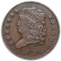 1825 Classic Head Half Cent, C-1, R3, ANACS EF45.