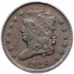 1828 Classic Head Half Cent, 13 Stars, C-3, R1, ANACS EF40.