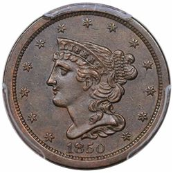 1850 Braided Hair Half Cent, C-1, R2, PCGS AU53.