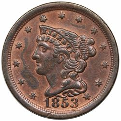 1853 Braided Hair Half Cent, C-1, R1, AU detail, cleaned.