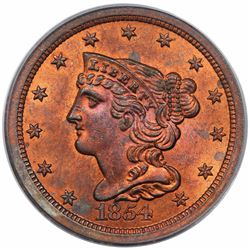 1854 Braided Hair Half Cent, C-1, R1, PCGS MS63RD.