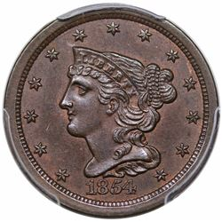 1854 Braided Hair Half Cent, C-1, R1, PCGS MS63BN.