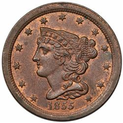 1855 Braided Hair Half Cent, C-1, R1, MS64RB.