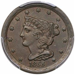 1855 Braided Hair Half Cent, C-1, R1, PCGS AU55.