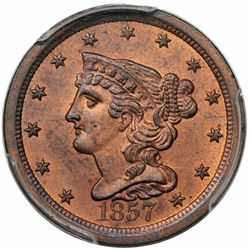 1857 Braided Hair Half Cent, C-1, R1, PCGS MS64RB.