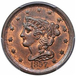 1857 Braided Hair Half Cent, C-1, R1, PCGS MS63RB.