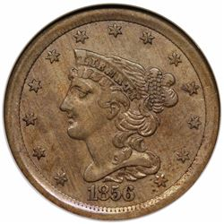1856 Pattern Braided Hair Half Cent, Judd 177, NGC (OH) VF35.