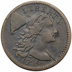 1794 Liberty Cap Large Cent, Head of 1794, S-60, R3, VF30.