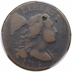 1794 Liberty Cap Large Cent, Head of 1794, S-62, R4, PCGS G detail, damage.