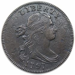 1797 Draped Bust Large Cent, Reverse of 1795, Gripped Edge, S-120b, R3, ANACS EF40 details, corroded