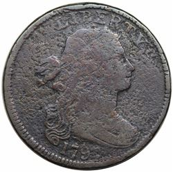 1797 Draped Bust Large Cent, No Stems, S-133, R5, VG detail, environmental damage.