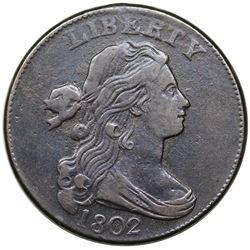 1802 Draped Bust Large Cent, S-229, R2, VF30.
