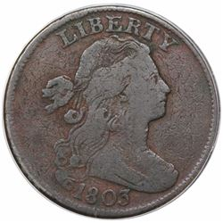1803 Draped Bust Large Cent, Small Date, Large Fraction, S-258, R1, ANACS F12 details, corroded.
