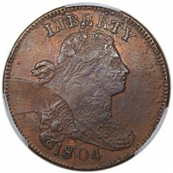 1804 Draped Bust Large Cent, Private Restrike, PCGS AU detail, tooled.