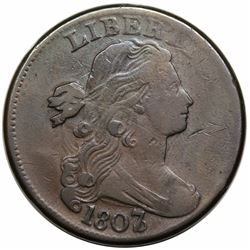 1807/6 Draped Bust Large Cent, Large 7, S-273, R1, F15.