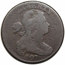 1807 Draped Bust Large Cent, Large Fraction, S-275, R3, G6.