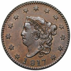1817 Coronet Head Large Cent, N-11, R1, AU58.