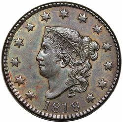 1818 Coronet Head Large Cent, N-7, R1, AU58.