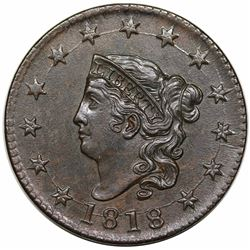 1818 Coronet Head Large Cent, N-10, R1, AU58.