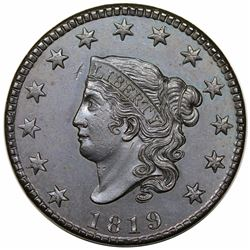 1819 Coronet Head Large Cent, Small Date, N-8, R1, MS62BN.